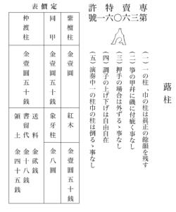 図5 『三曲』に掲載されている博信堂の広告ページの蕗柱の宣伝と定価表