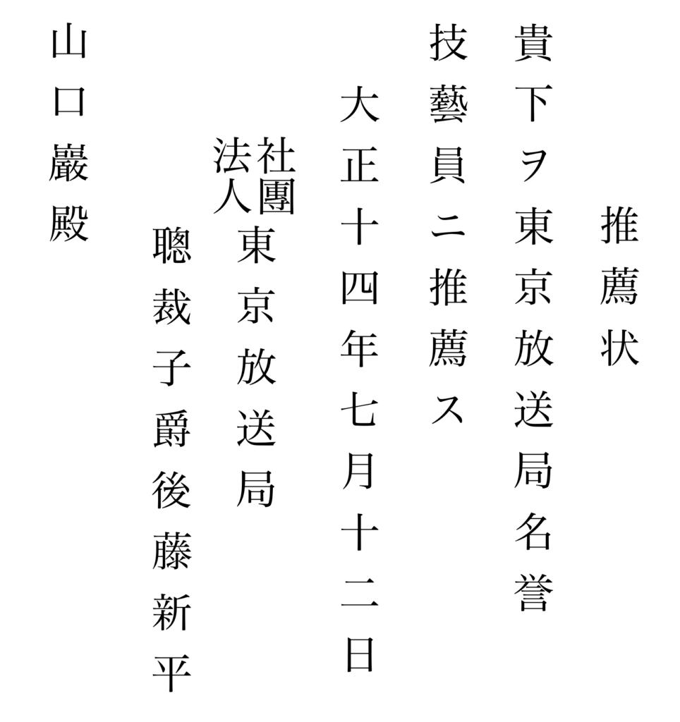 写真15 東京放送局名誉技芸員の推薦状