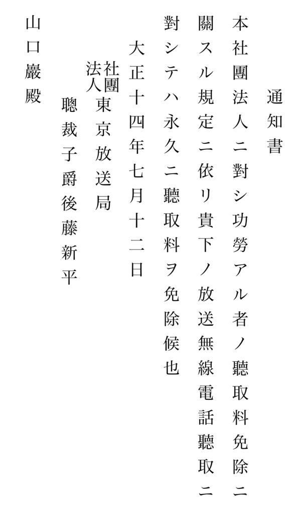 写真16 東京放送局からの無電放送徴収料免除の書状